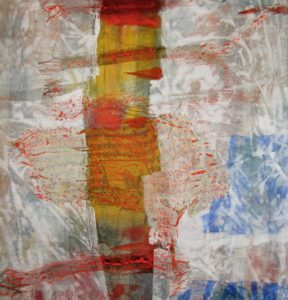 Detail of : Del 027 Prayer flags prayer flags vertical, 2009, mix med on canvas, 180 cm x 90